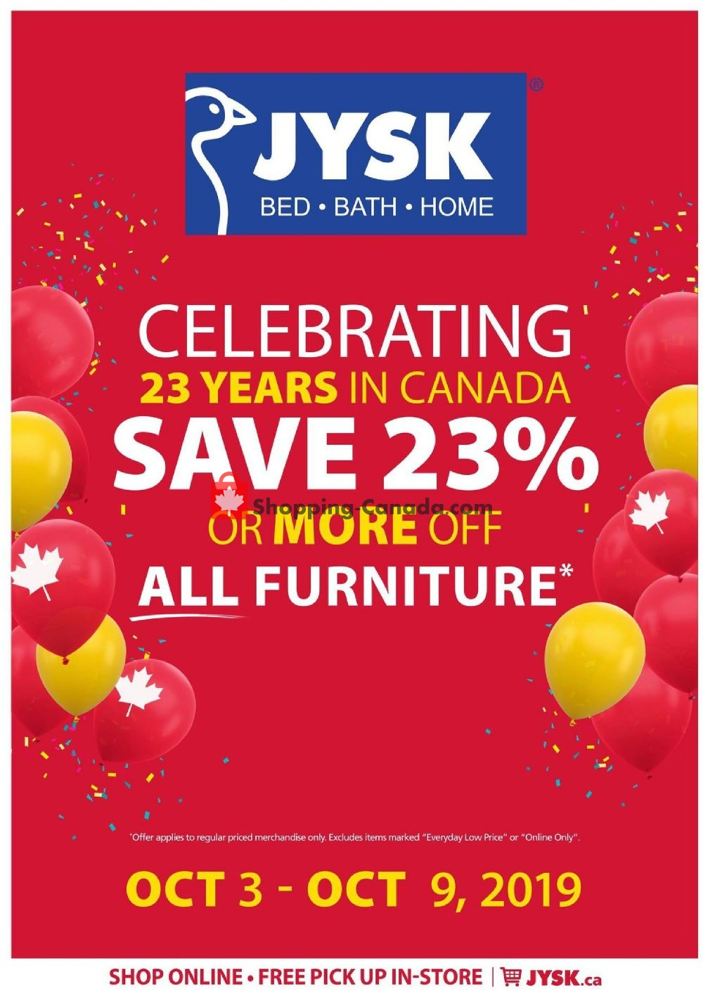 Flyer JYSK Canada - from Thursday October 3, 2019 to Wednesday October 9, 2019