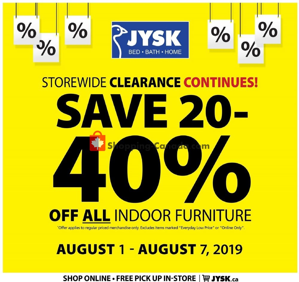 Flyer JYSK Canada - from Thursday August 1, 2019 to Wednesday August 7, 2019