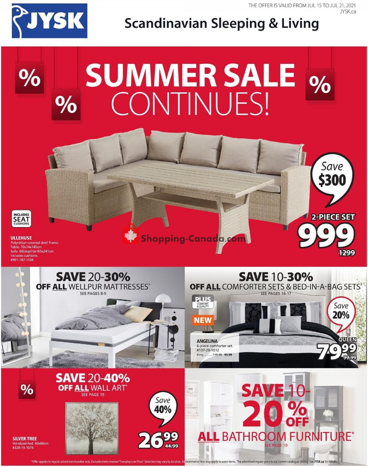 Flyer JYSK Canada - from Thursday July 15, 2021 to Wednesday July 21, 2021