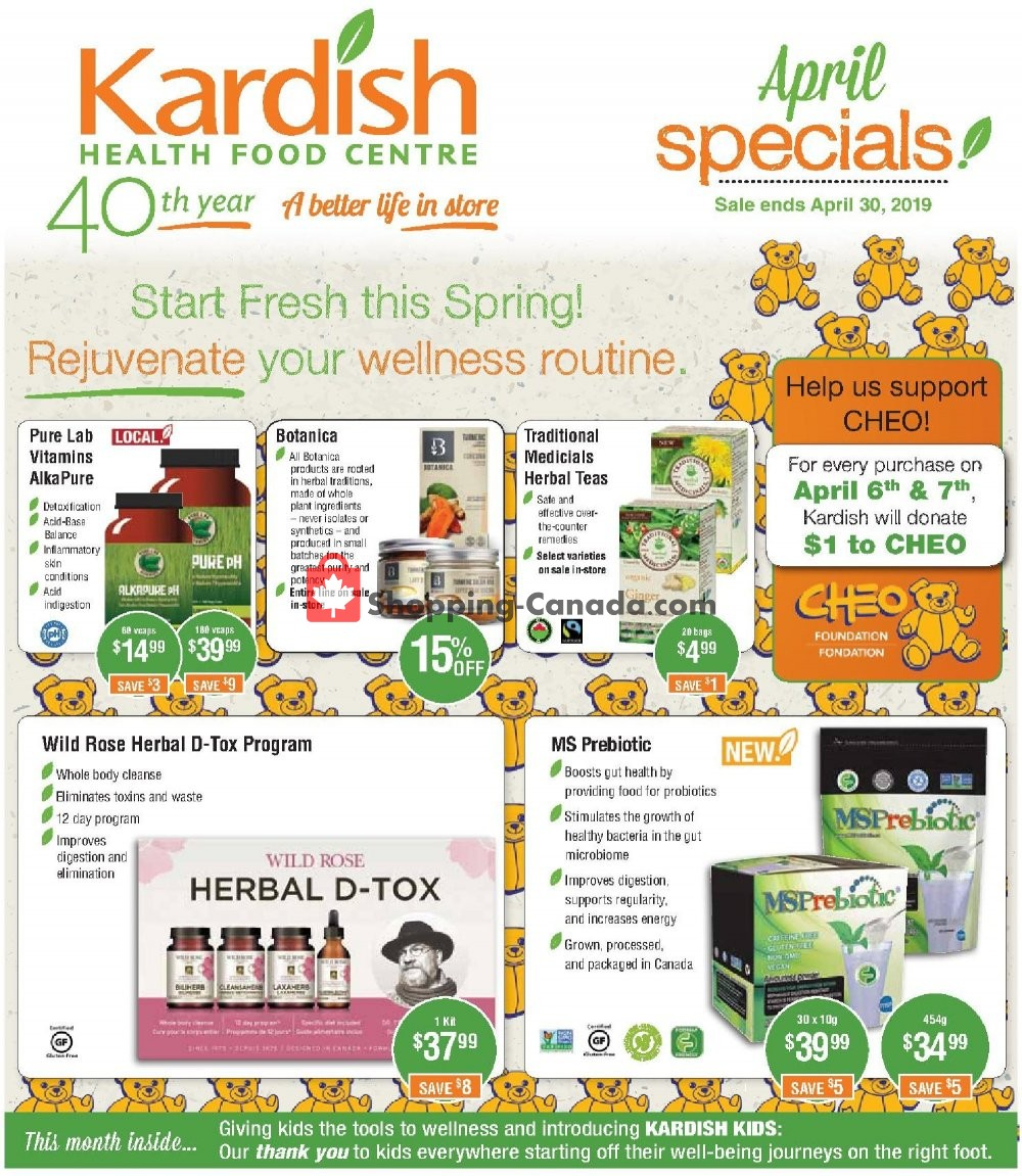Flyer Kardish Health Food Centre Canada - from Monday April 1, 2019 to Tuesday April 30, 2019