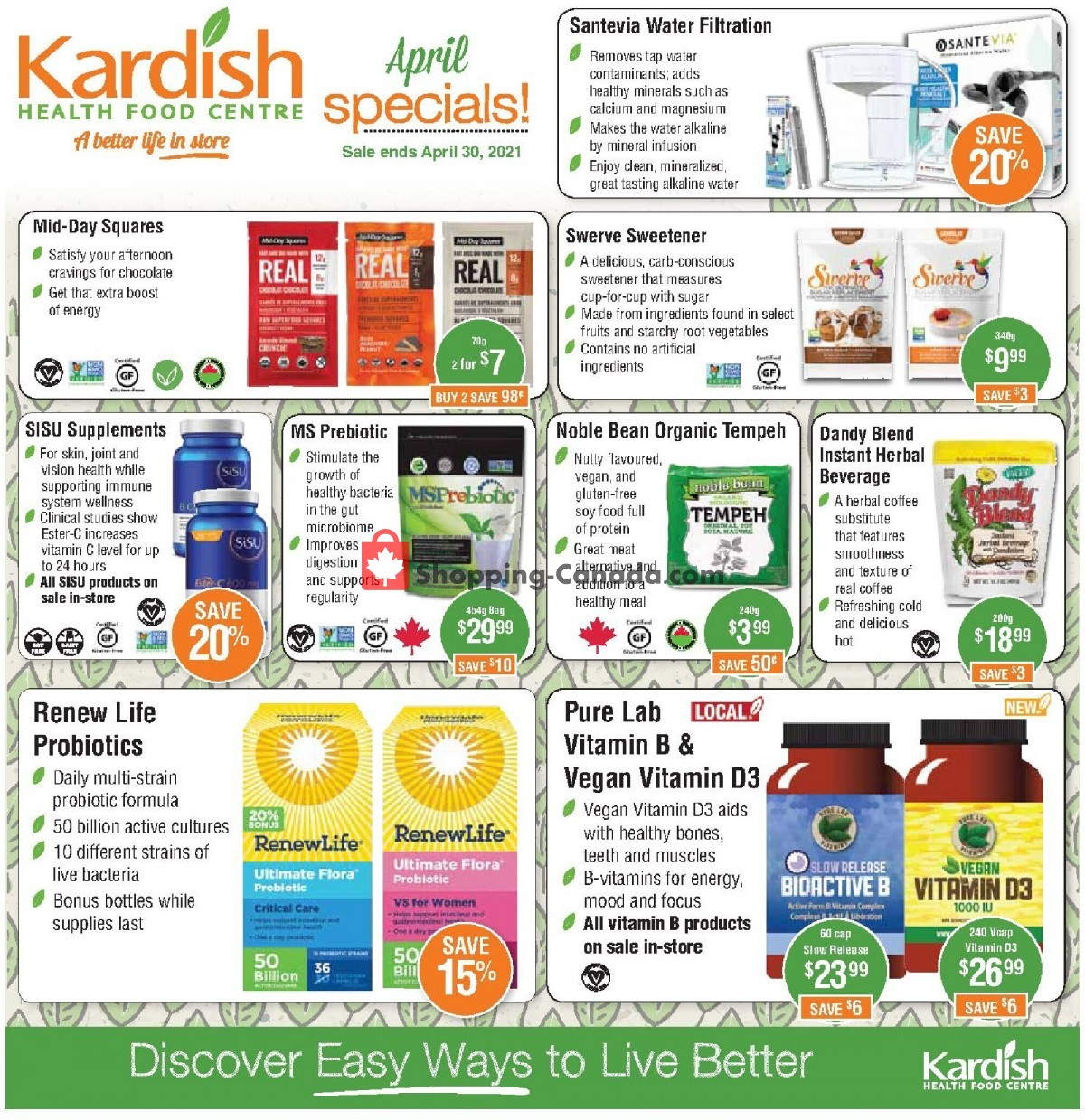 Flyer Kardish Health Food Centre Canada - from Thursday April 1, 2021 to Friday April 30, 2021