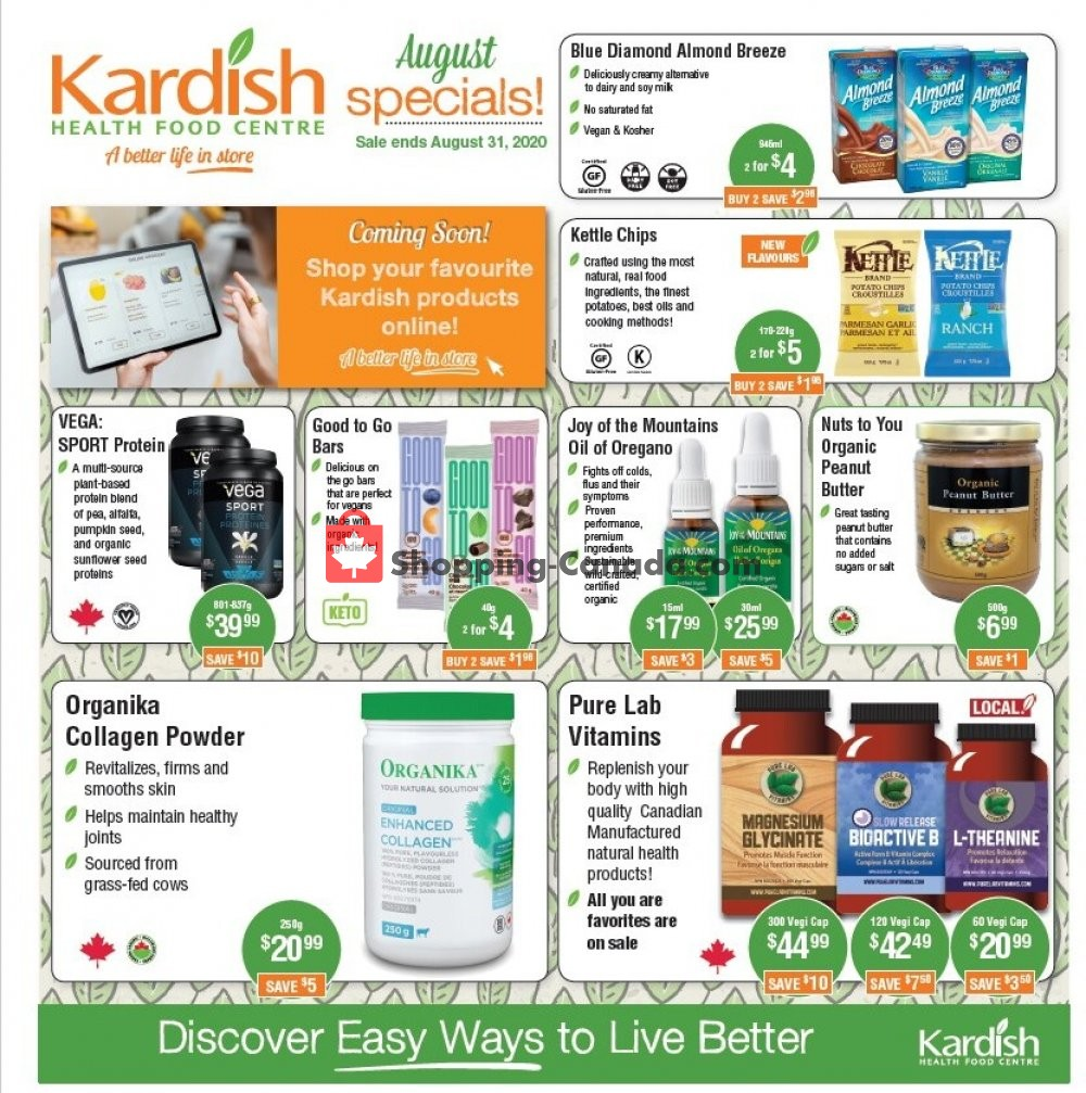 Flyer Kardish Health Food Centre Canada - from Saturday August 1, 2020 to Monday August 31, 2020