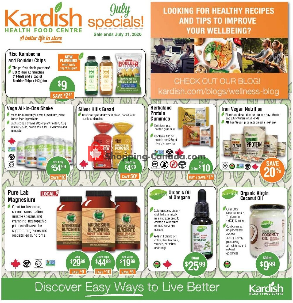 Flyer Kardish Health Food Centre Canada - from Wednesday July 1, 2020 to Friday July 31, 2020