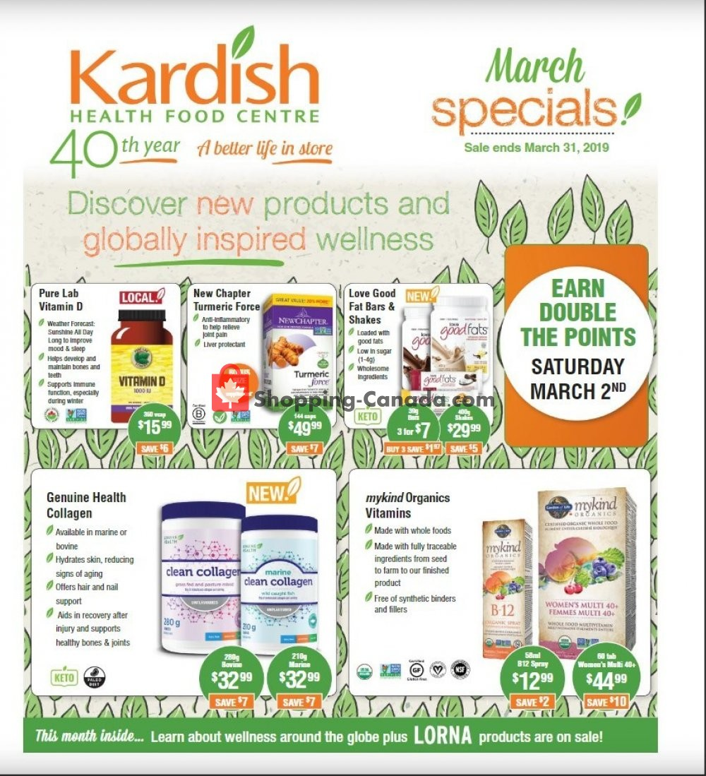 Flyer Kardish Health Food Centre Canada - from Friday March 1, 2019 to Sunday March 31, 2019