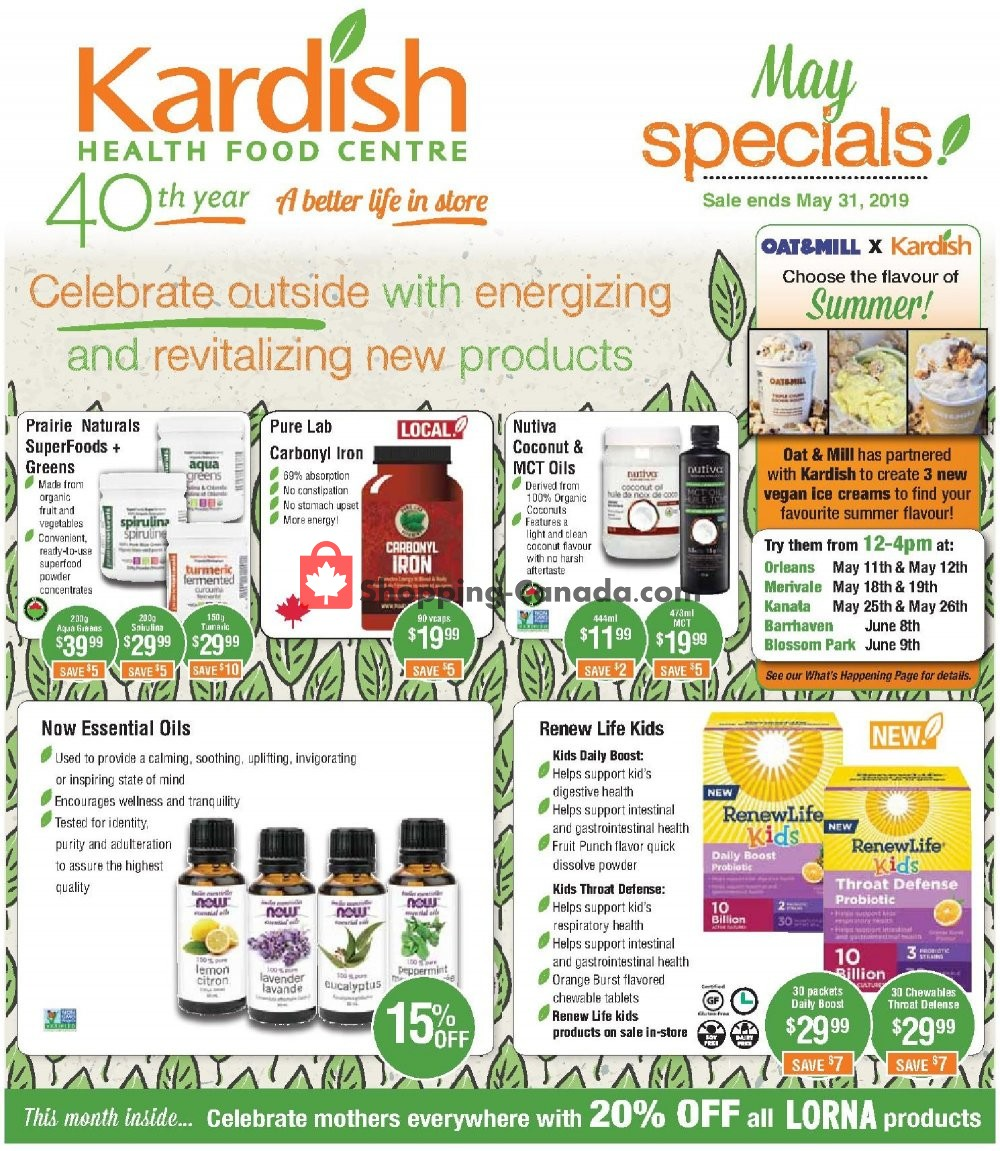 Flyer Kardish Health Food Centre Canada - from Wednesday May 1, 2019 to Friday May 31, 2019