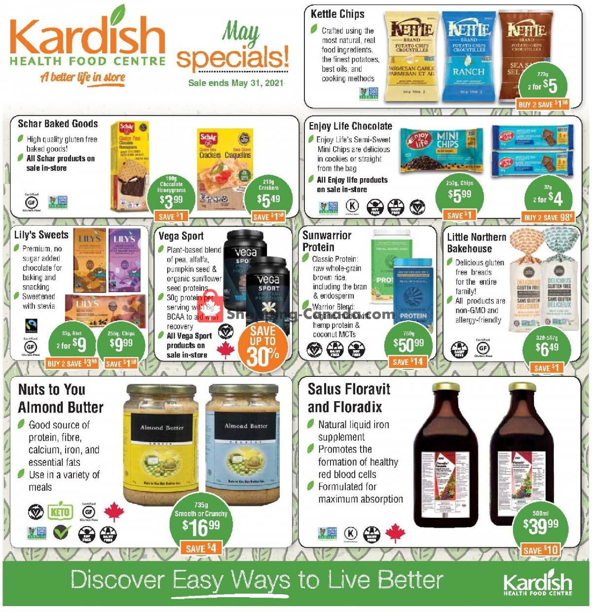 Flyer Kardish Health Food Centre Canada - from Saturday May 1, 2021 to Monday May 31, 2021