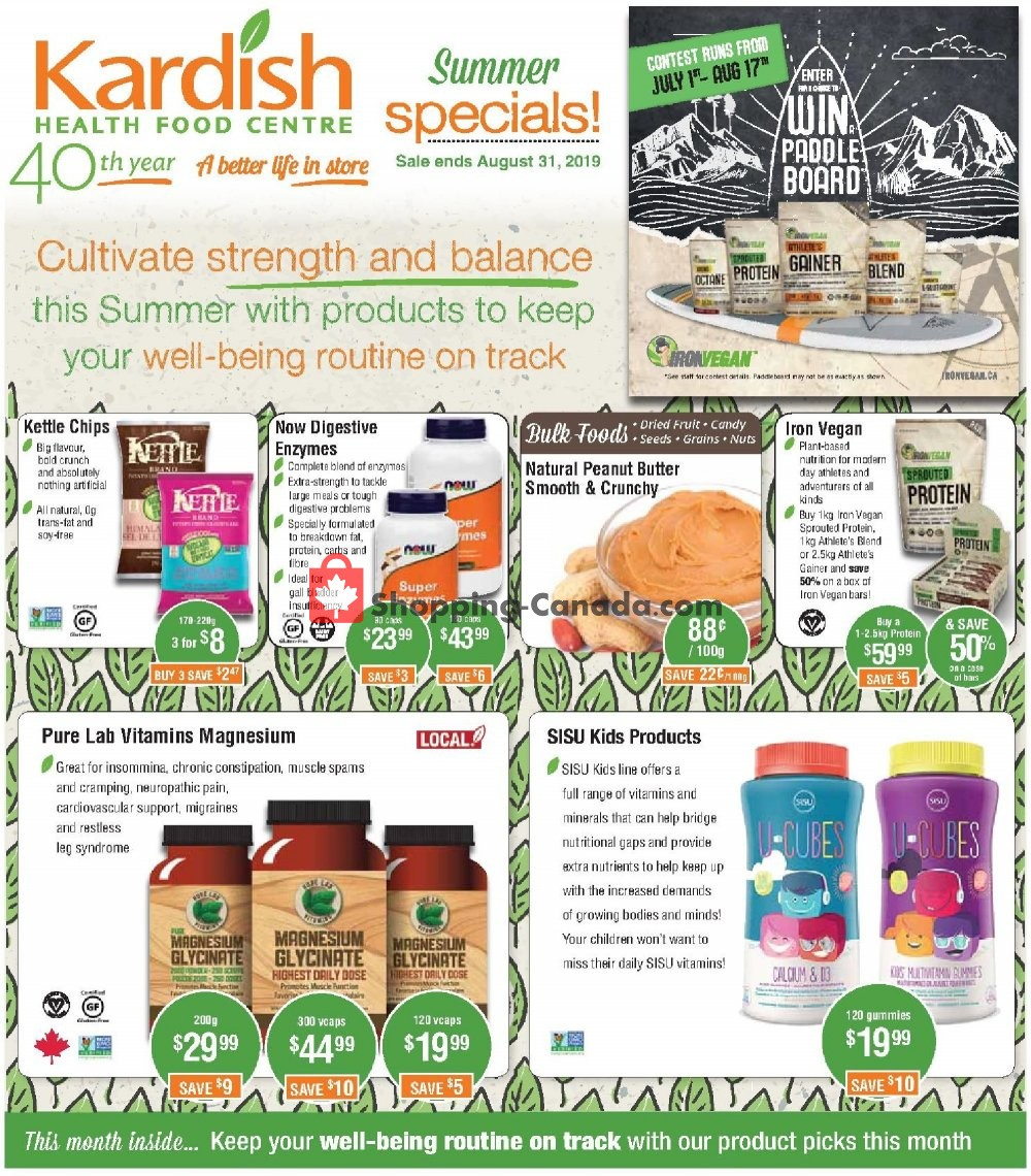 Flyer Kardish Health Food Centre Canada - from Monday July 1, 2019 to Saturday August 31, 2019