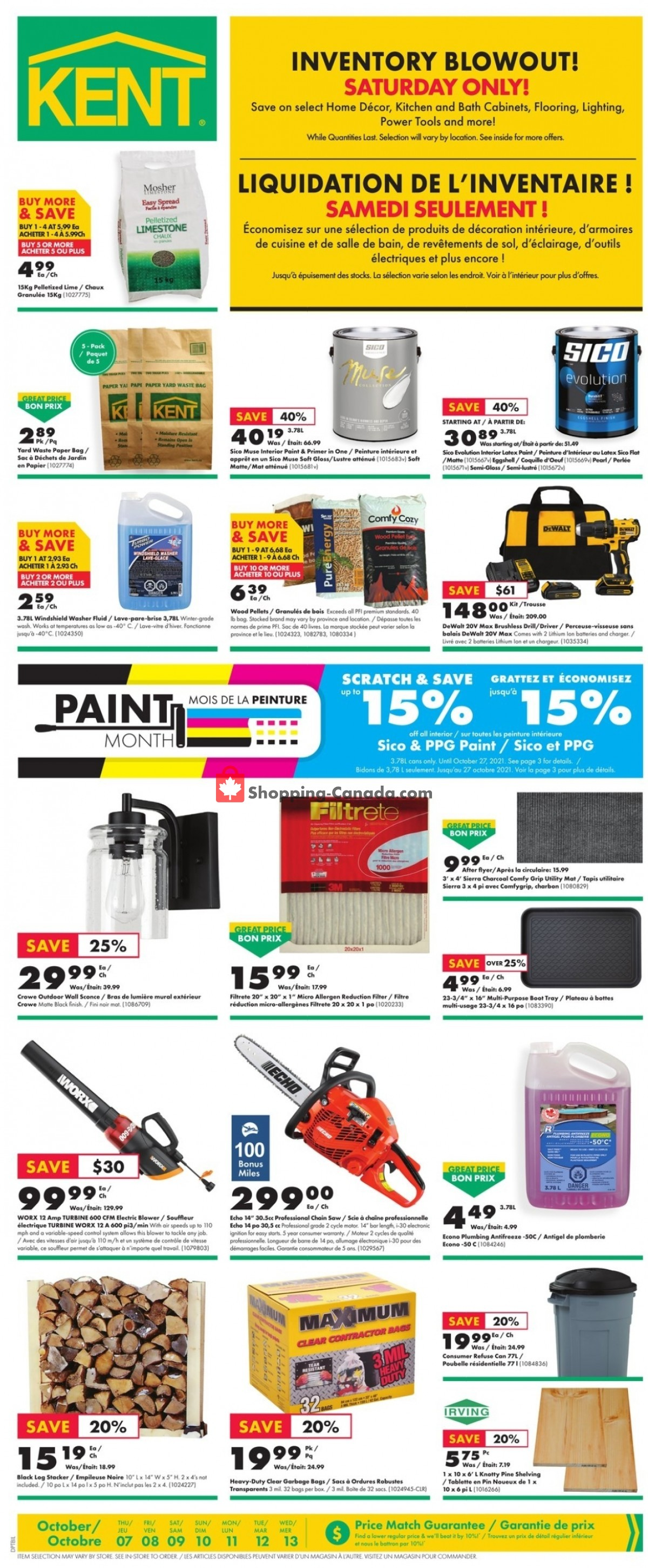 Flyer Kent Building Supplies Canada - from Thursday October 7, 2021 to Wednesday October 13, 2021