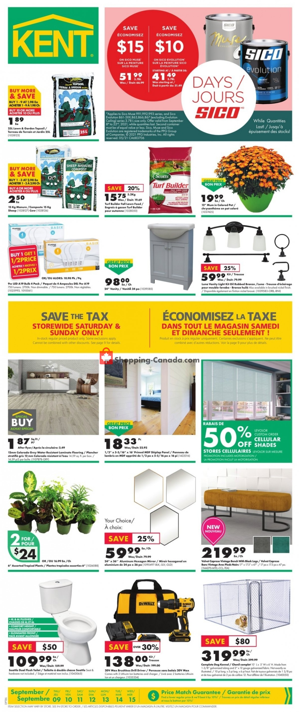 Flyer Kent Building Supplies Canada - from Thursday September 9, 2021 to Wednesday September 15, 2021
