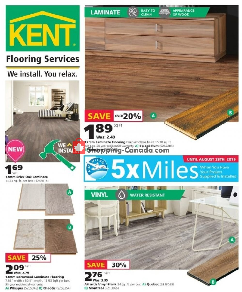 Flyer Kent Building Supplies Canada - from Thursday August 8, 2019 to Wednesday August 14, 2019