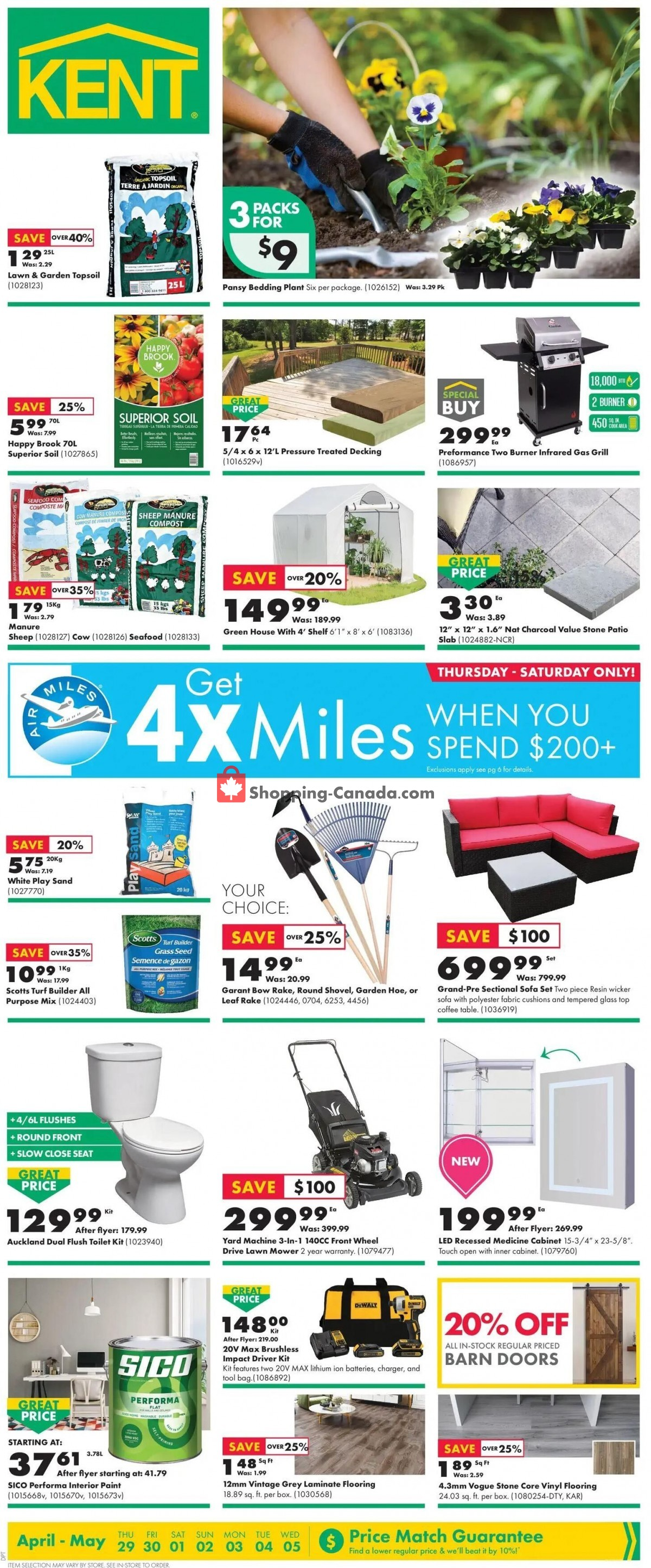 Flyer Kent Building Supplies Canada - from Thursday April 29, 2021 to Wednesday May 5, 2021