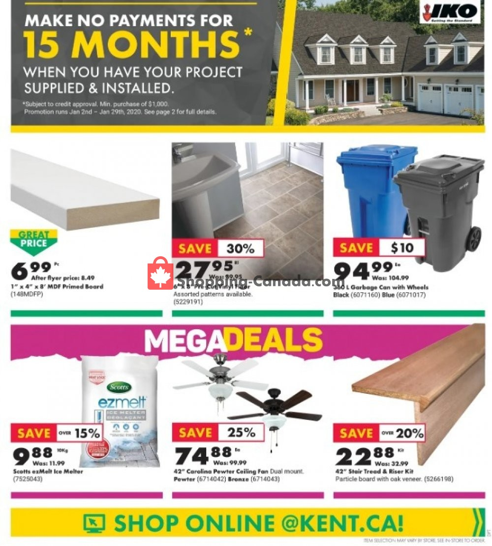 Flyer Kent Building Supplies Canada - from Thursday January 16, 2020 to Wednesday January 22, 2020