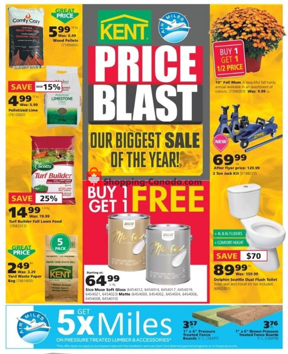 Flyer Kent Building Supplies Canada - from Thursday September 12, 2019 to Wednesday September 18, 2019