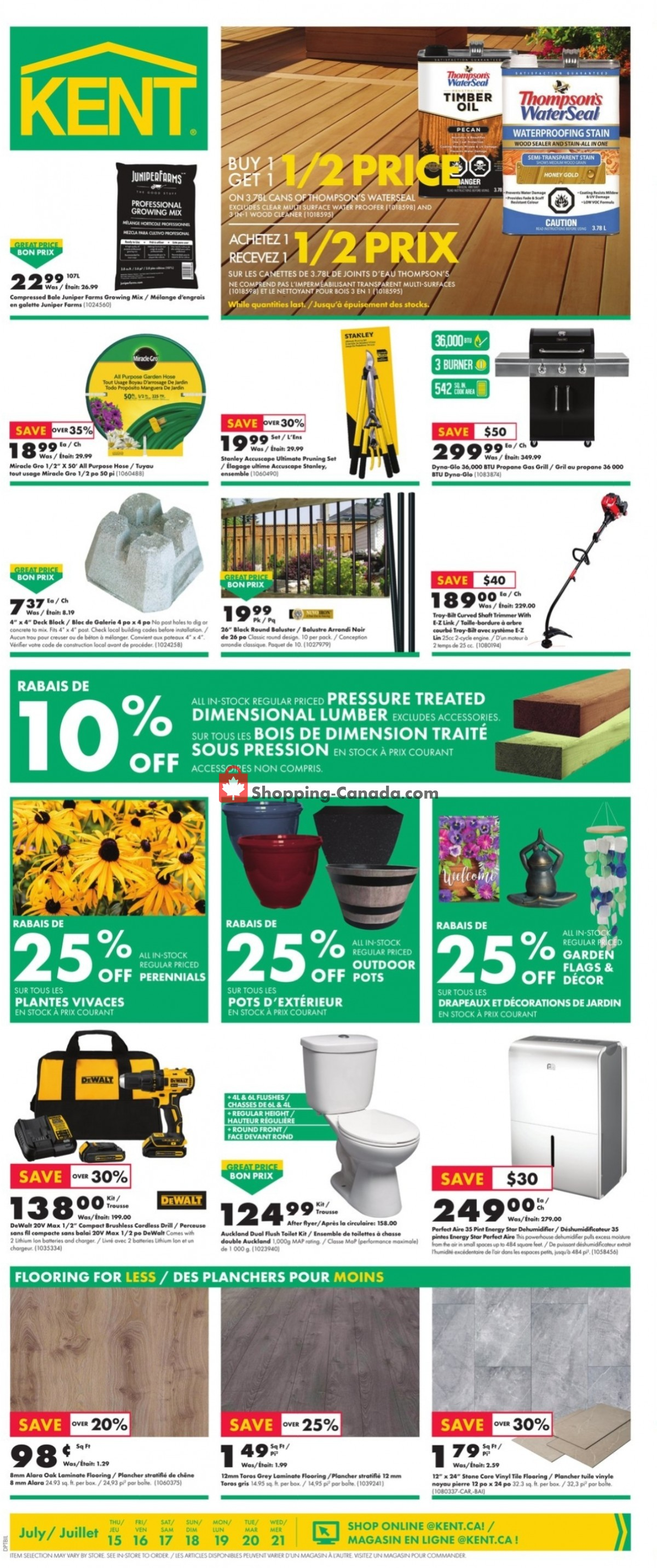 Flyer Kent Building Supplies Canada - from Thursday July 15, 2021 to Wednesday July 21, 2021
