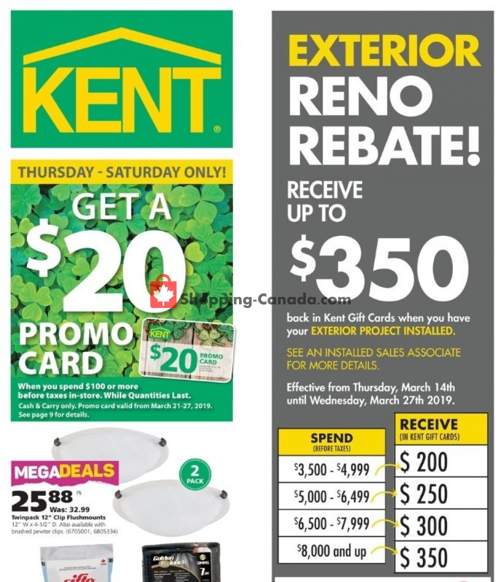 Flyer Kent Building Supplies Canada - from Thursday March 14, 2019 to Wednesday March 20, 2019