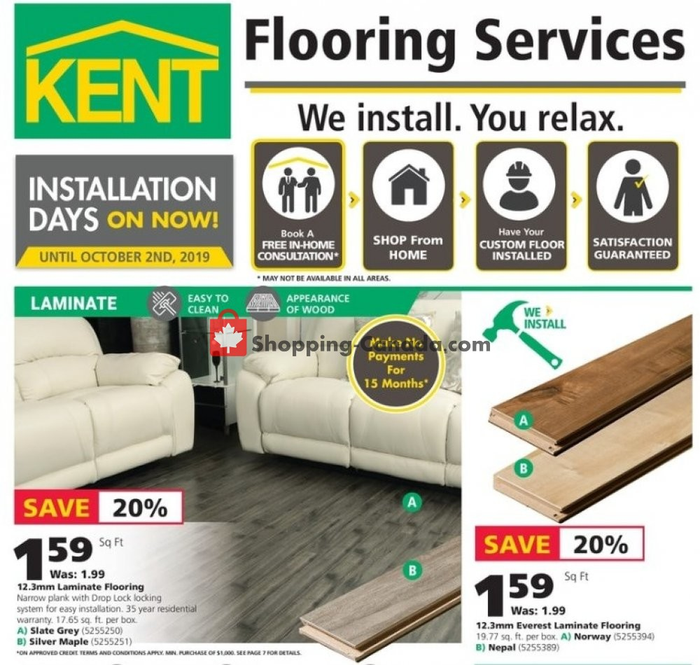 Flyer Kent Building Supplies Canada - from Thursday September 5, 2019 to Wednesday September 11, 2019