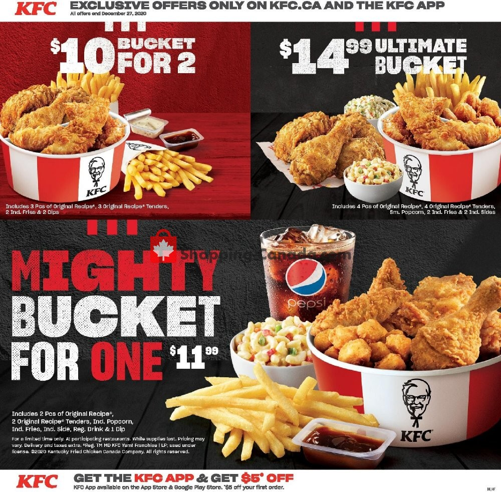 Flyer KFC Canada - from Monday October 19, 2020 to Sunday December 27, 2020