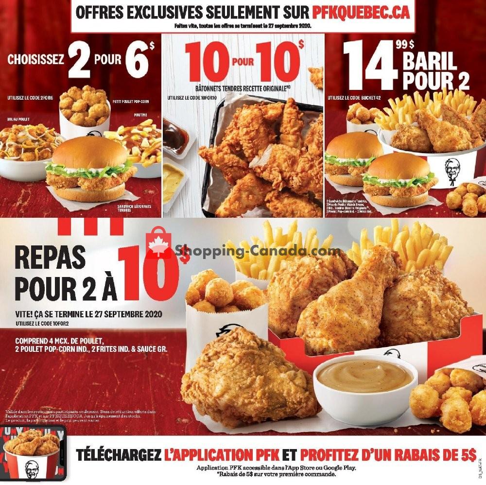 Flyer KFC Canada - from Monday July 27, 2020 to Sunday September 27, 2020