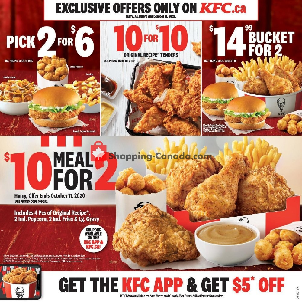 Flyer KFC Canada - from Monday August 10, 2020 to Sunday October 11, 2020
