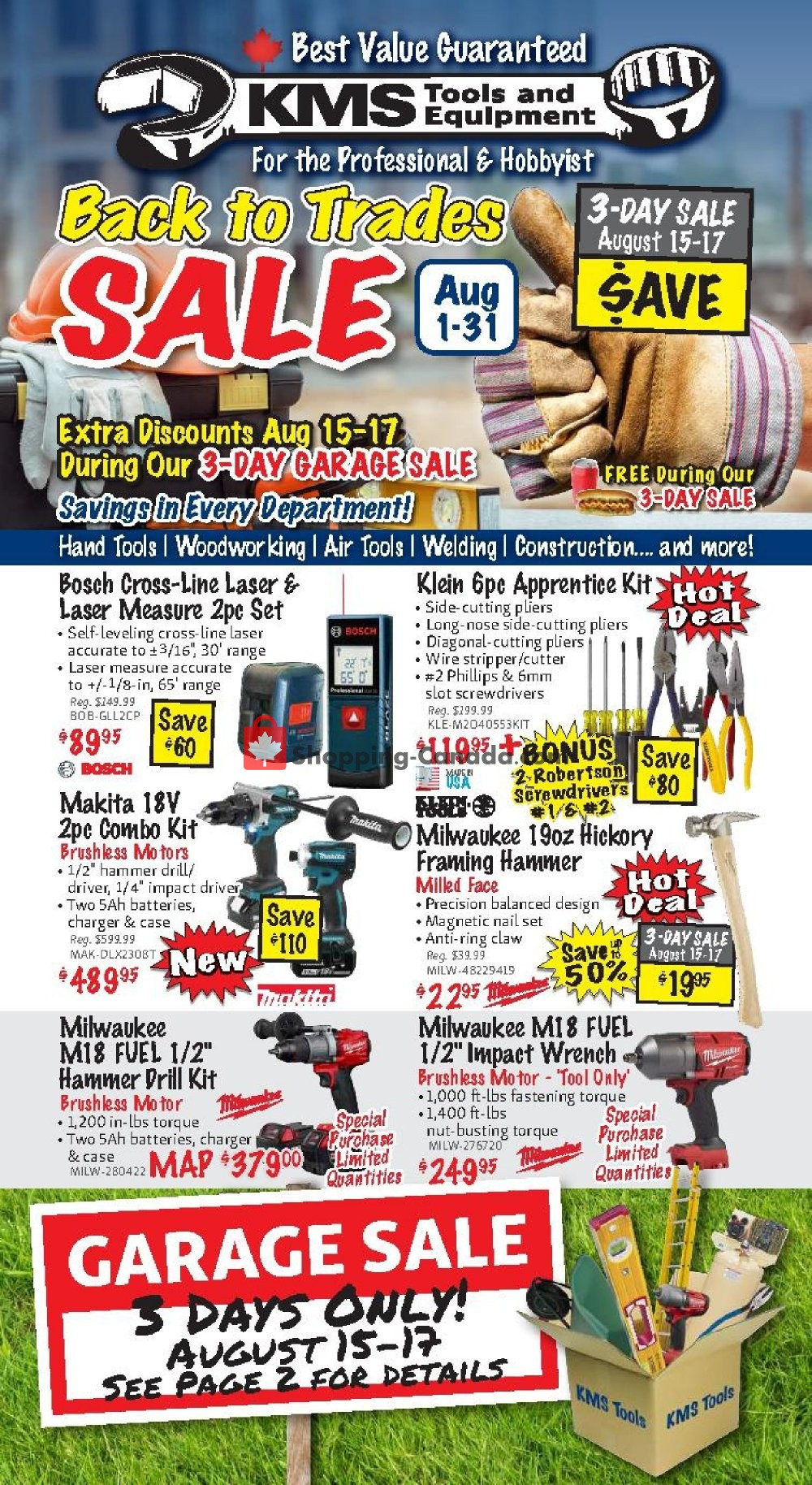 Flyer KMS Tools & Equipment Canada - from Thursday August 1, 2019 to Saturday August 31, 2019