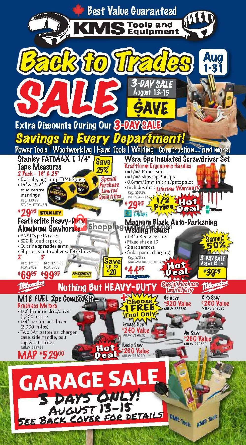 Flyer KMS Tools & Equipment Canada - from Saturday August 1, 2020 to Monday August 31, 2020