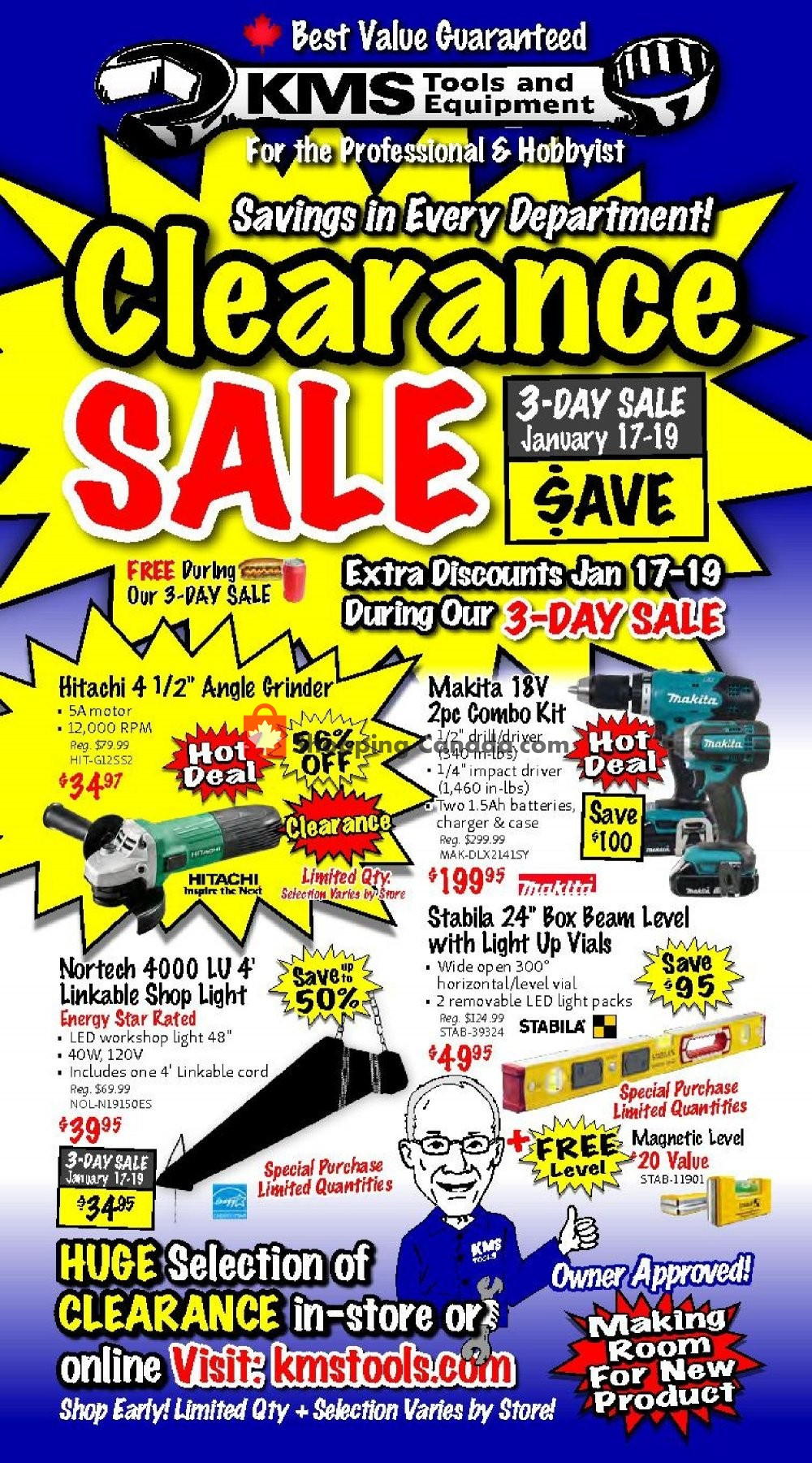 Flyer KMS Tools & Equipment Canada - from Thursday January 17, 2019 to Saturday January 19, 2019