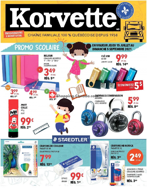 Flyer Korvette Canada - from Thursday July 15, 2021 to Sunday September 5, 2021