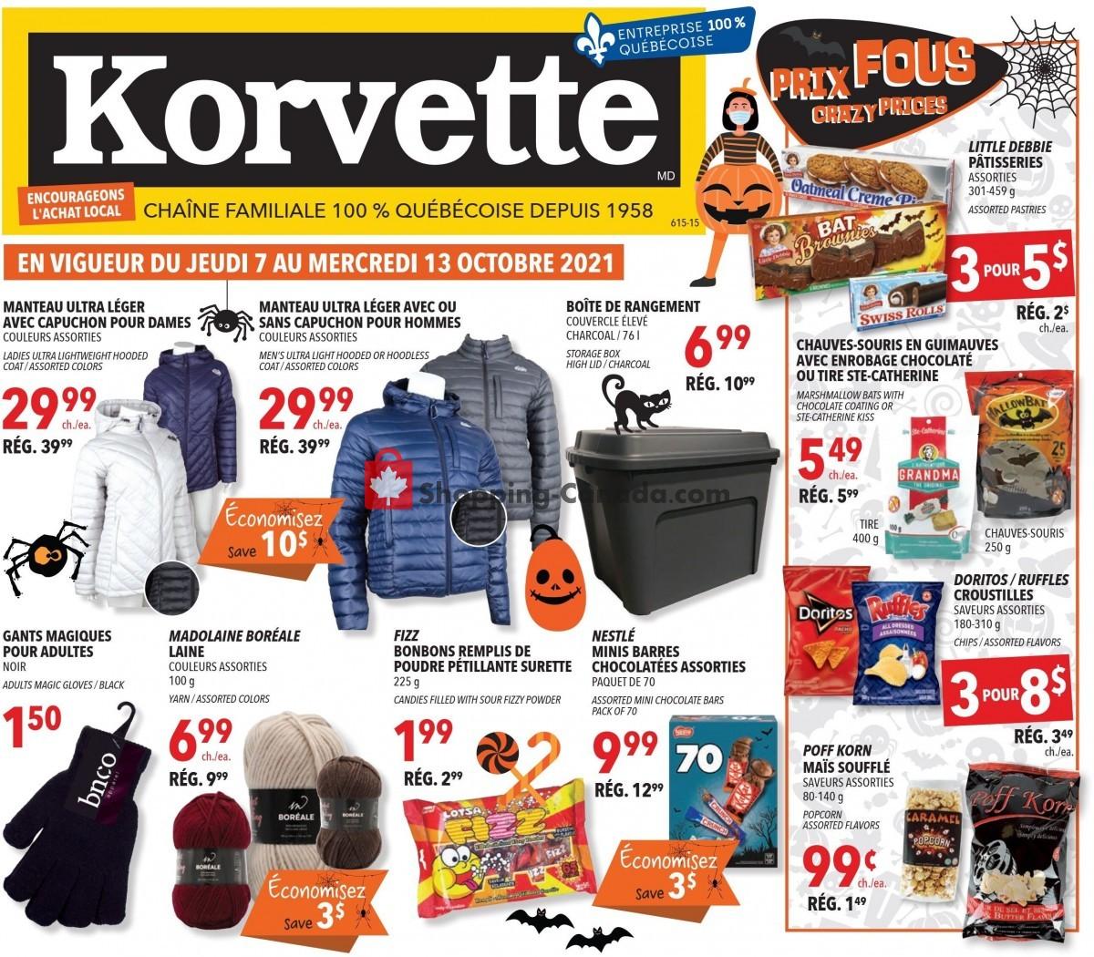 Flyer Korvette Canada - from Thursday October 7, 2021 to Wednesday October 13, 2021