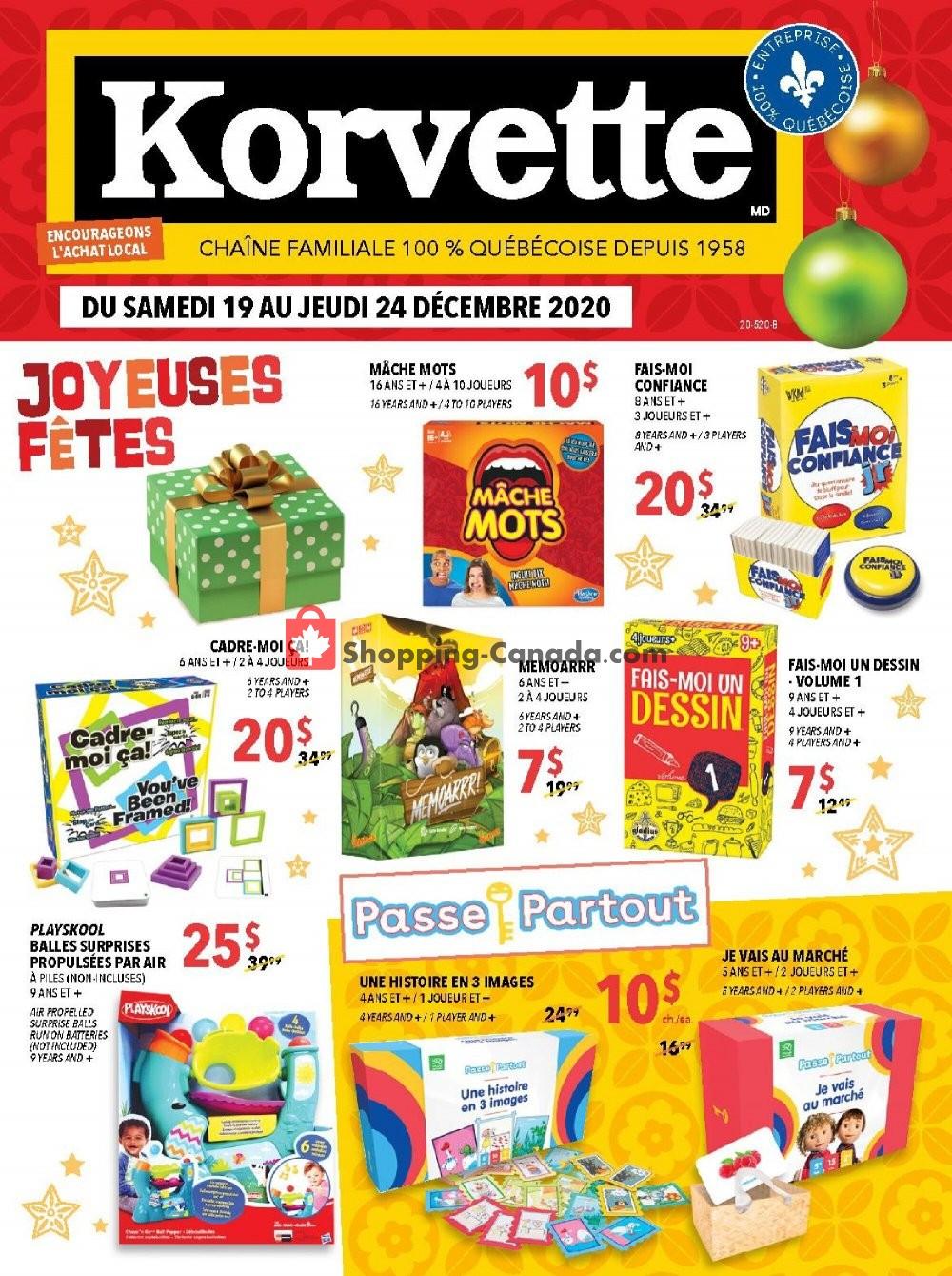 Flyer Korvette Canada - from Saturday December 19, 2020 to Thursday December 24, 2020