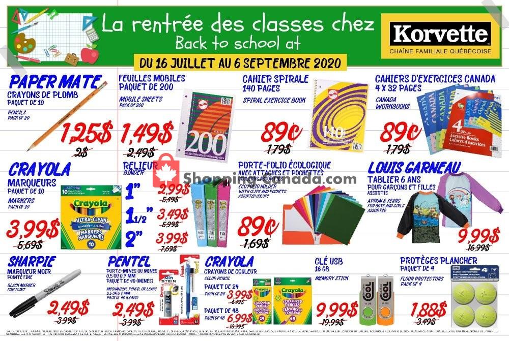 Flyer Korvette Canada - from Thursday July 16, 2020 to Sunday September 6, 2020