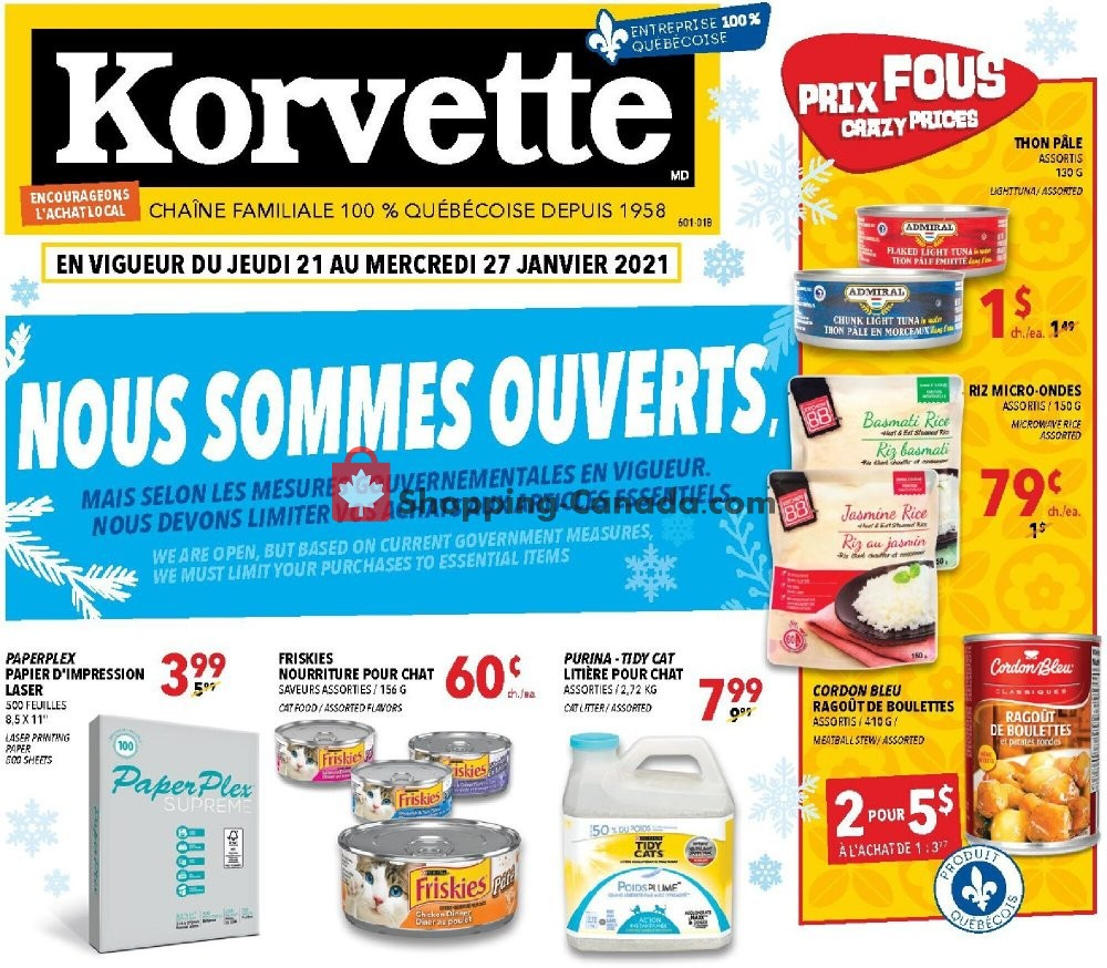 Flyer Korvette Canada - from Thursday January 21, 2021 to Wednesday January 27, 2021