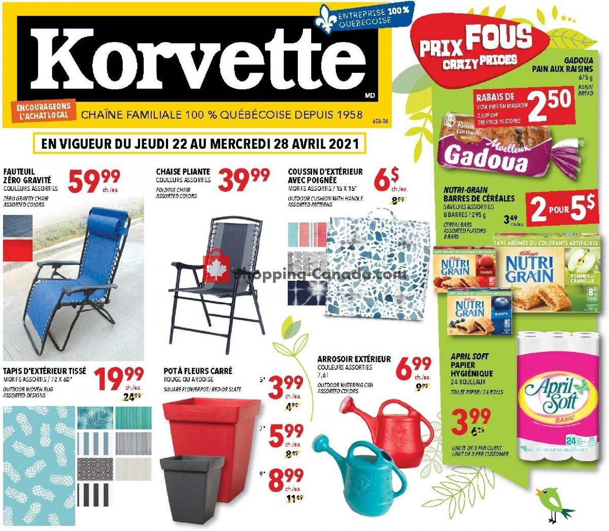 Flyer Korvette Canada - from Thursday April 22, 2021 to Wednesday April 28, 2021