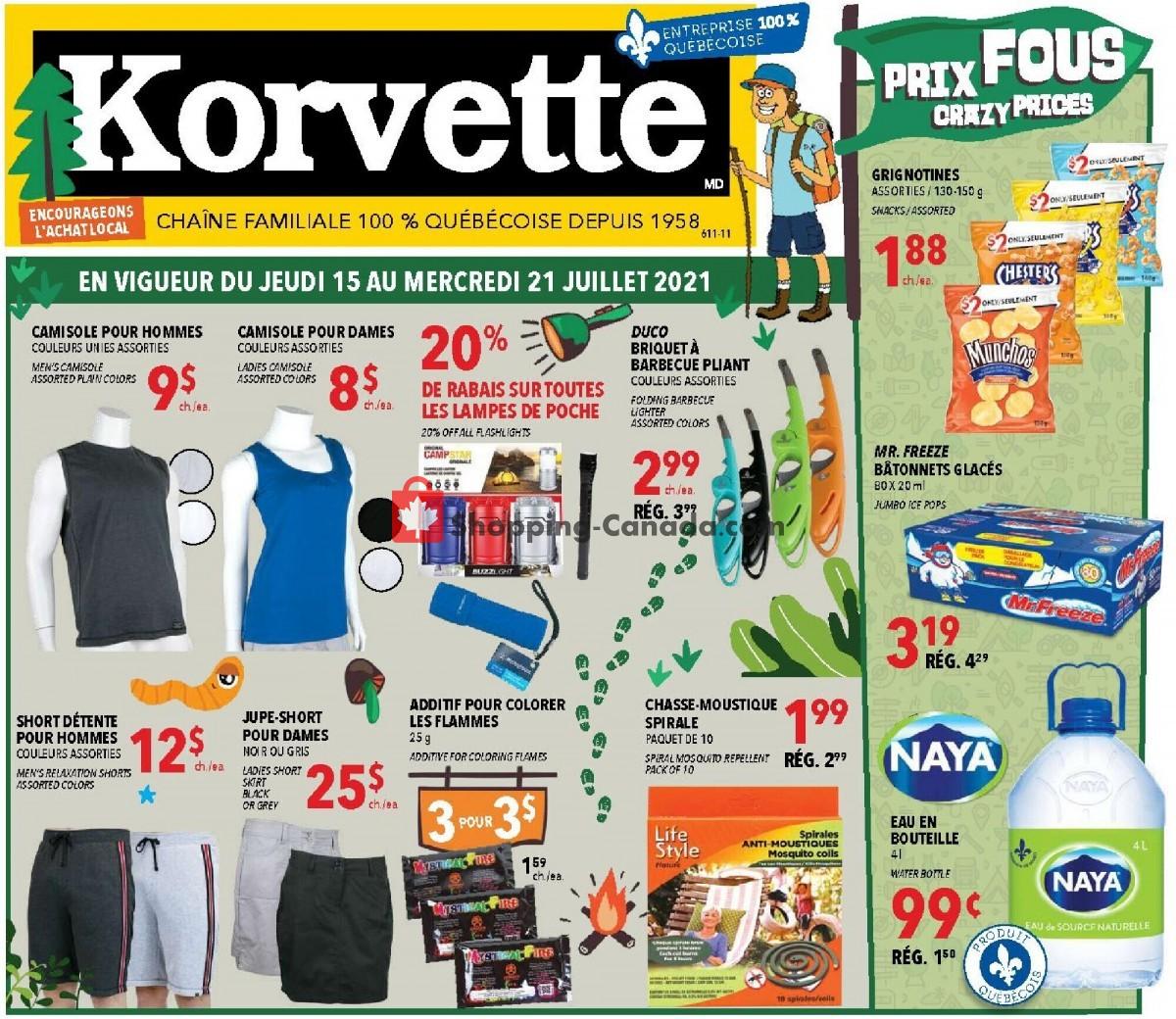Flyer Korvette Canada - from Thursday July 15, 2021 to Wednesday July 21, 2021