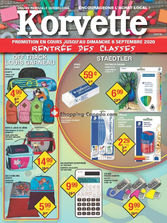 Flyer Korvette Canada - from Sunday August 16, 2020 to Sunday September 6, 2020