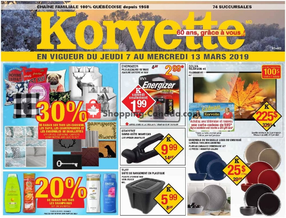 Flyer Korvette Canada - from Thursday March 7, 2019 to Wednesday March 13, 2019