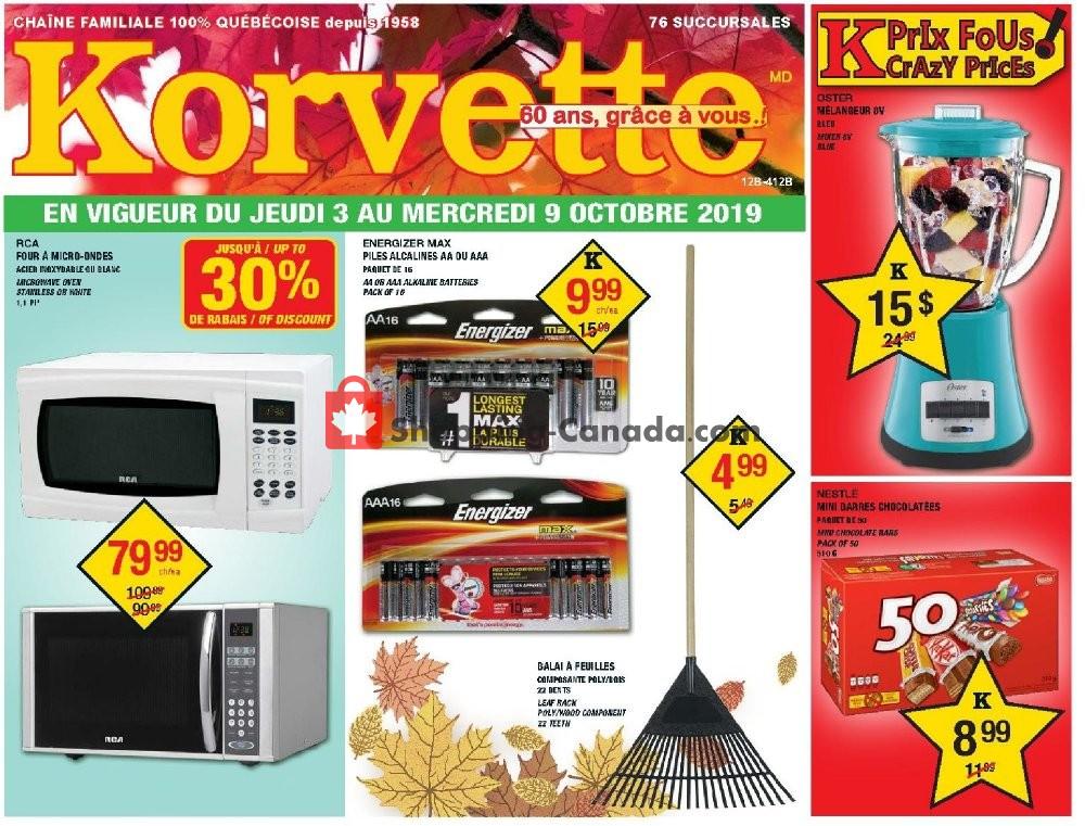 Flyer Korvette Canada - from Thursday October 3, 2019 to Wednesday October 9, 2019