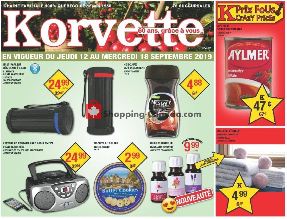 Flyer Korvette Canada - from Thursday September 12, 2019 to Wednesday September 18, 2019