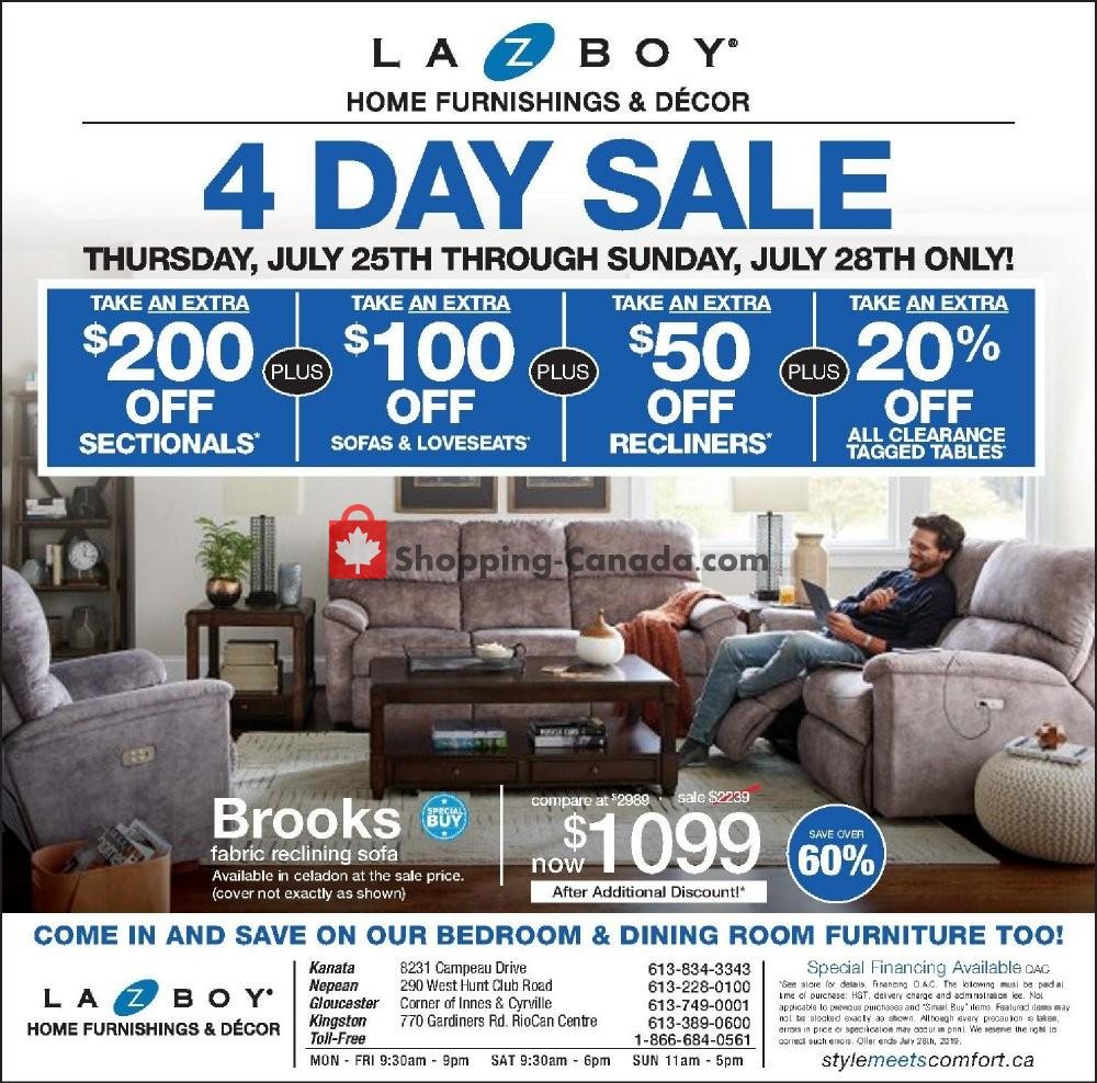 Flyer La-Z-Boy Canada - from Thursday July 25, 2019 to Sunday July 28, 2019