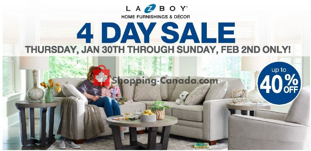 Flyer La-Z-Boy Canada - from Thursday January 30, 2020 to Sunday February 2, 2020