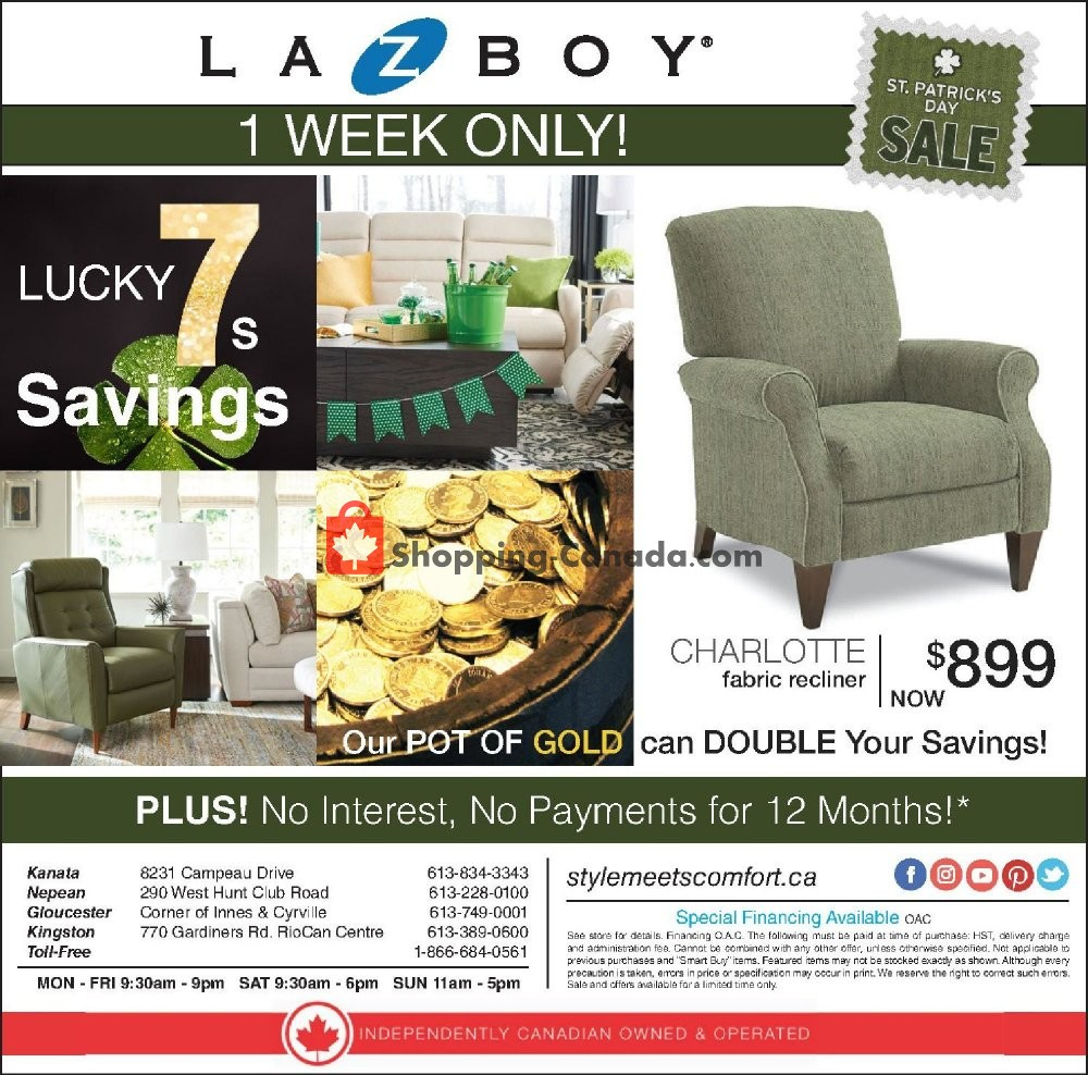 Flyer La-Z-Boy Canada - from Tuesday March 12, 2019 to Monday March 18, 2019