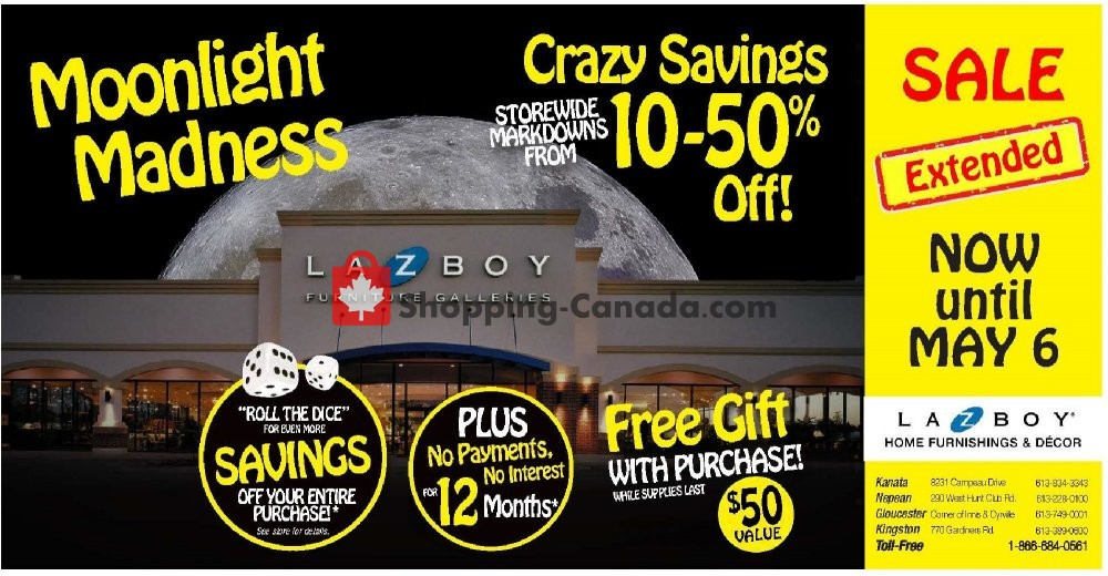 Flyer La-Z-Boy Canada - from Thursday May 2, 2019 to Monday May 6, 2019