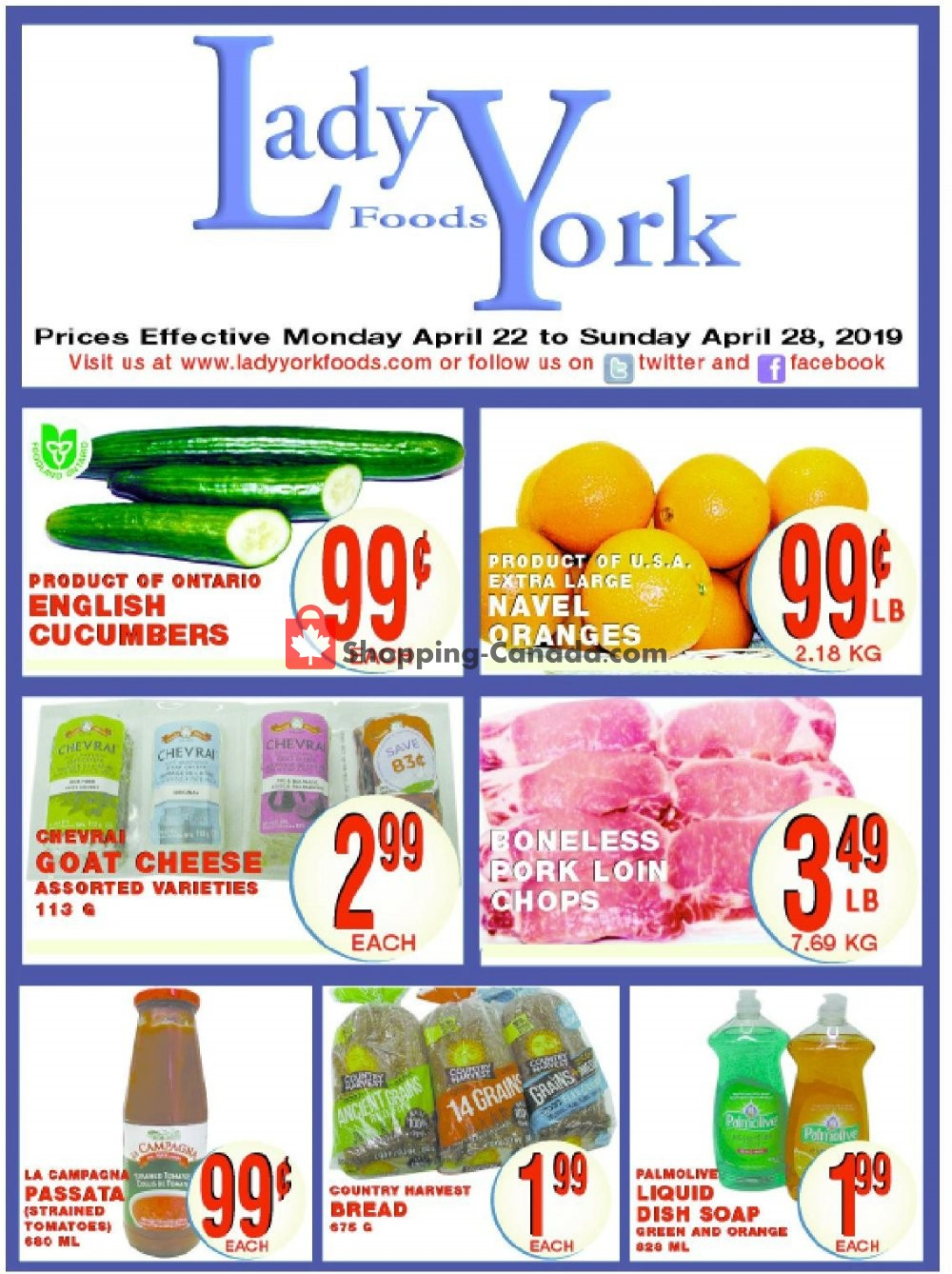 Flyer Lady York Foods Canada - from Monday April 22, 2019 to Sunday April 28, 2019