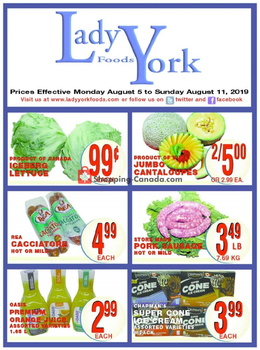 Flyer Lady York Foods Canada - from Monday August 5, 2019 to Sunday August 11, 2019