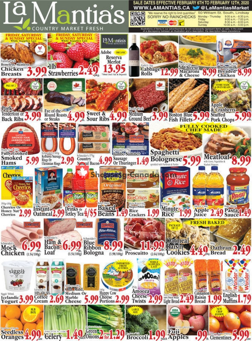 Flyer Lamantia's Country Market Canada - from Thursday February 6, 2020 to Wednesday February 12, 2020