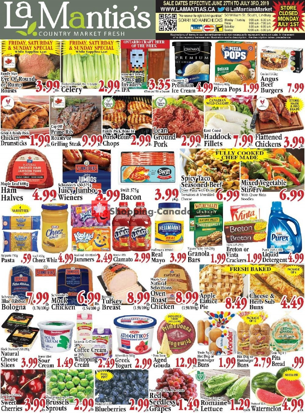 Flyer Lamantia's Country Market Canada - from Thursday June 27, 2019 to Wednesday July 3, 2019