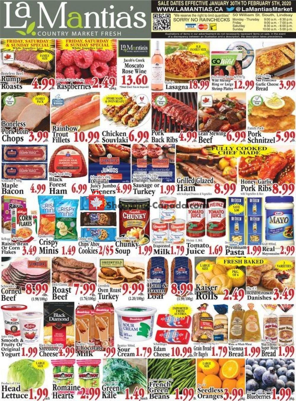 Flyer Lamantia's Country Market Canada - from Thursday January 30, 2020 to Wednesday February 5, 2020