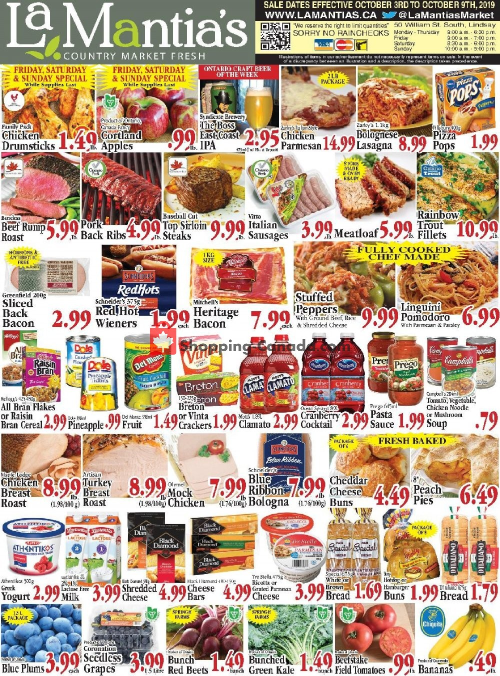 Flyer Lamantia's Country Market Canada - from Thursday October 3, 2019 to Wednesday October 9, 2019