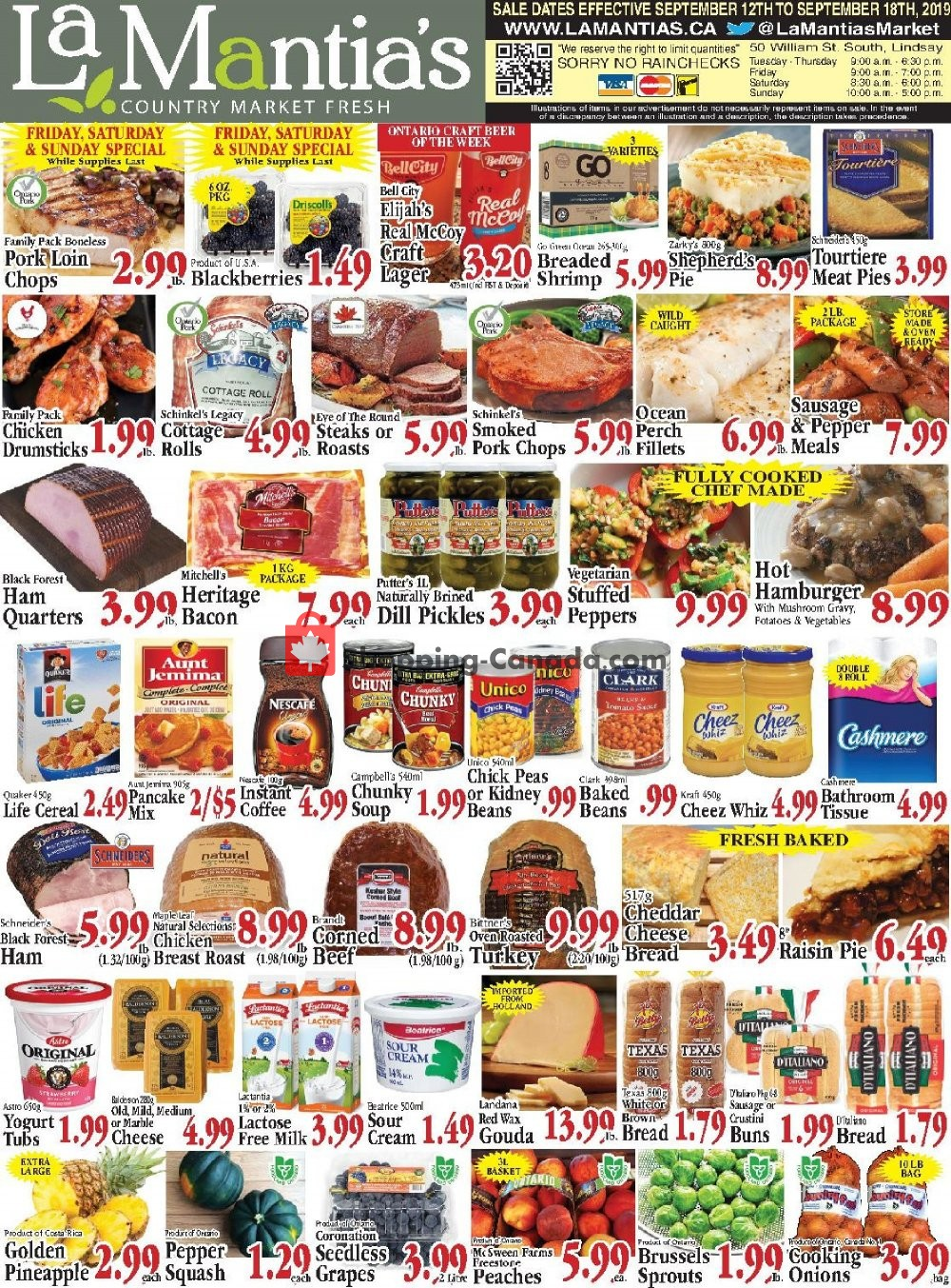 Flyer Lamantia's Country Market Canada - from Thursday September 12, 2019 to Wednesday September 18, 2019