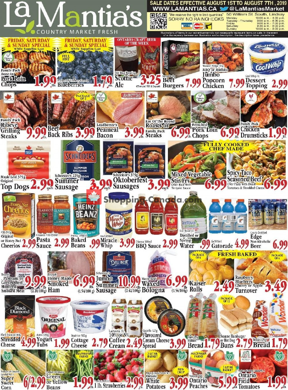 Flyer Lamantia's Country Market Canada - from Thursday August 1, 2019 to Wednesday August 7, 2019