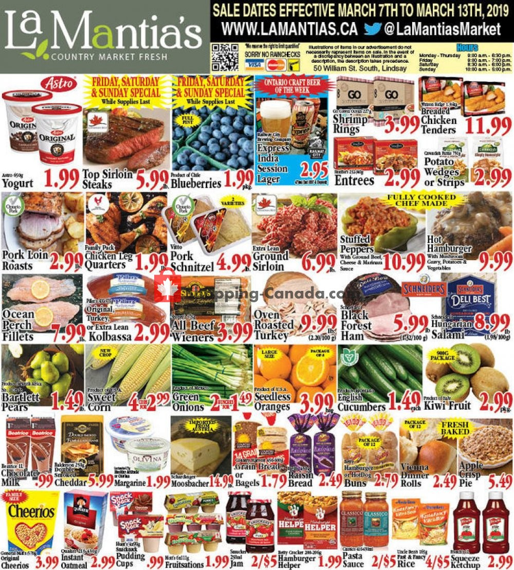 Flyer Lamantia's Country Market Canada - from Thursday March 7, 2019 to Wednesday March 13, 2019